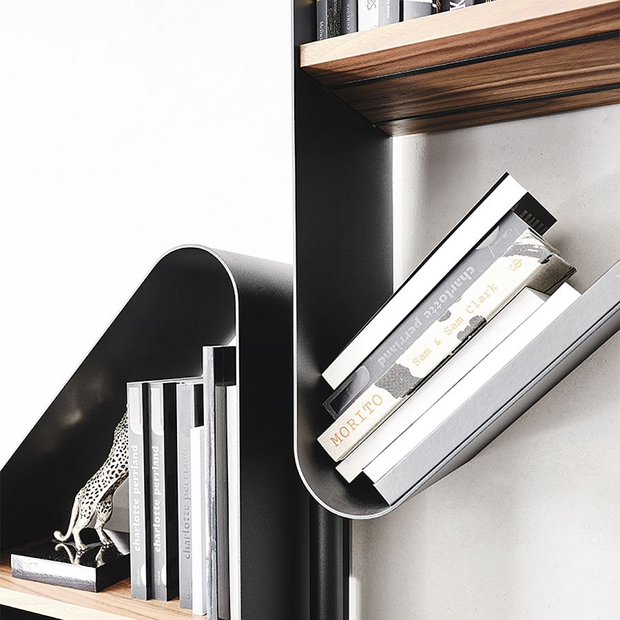 Curved edges of the triangular shelves add to their geo style