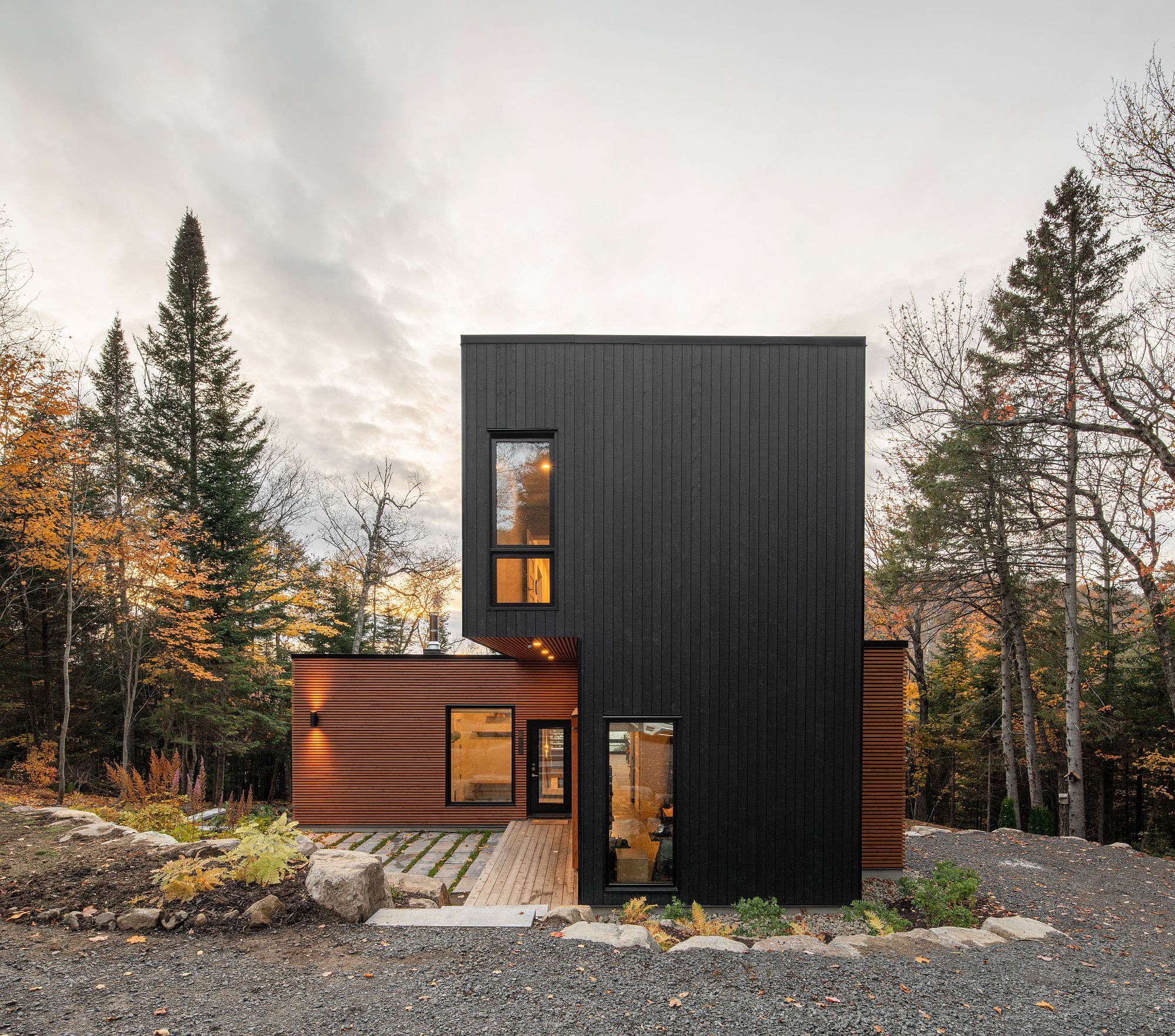 Custom five factory-built modules use to create spacious and sustainable family home in Quebec