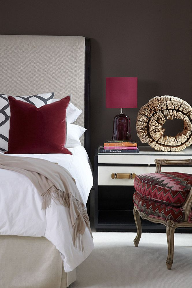 Dark-red-accents-brighten-this-bedroom-in-white-and-deep-gray-85768