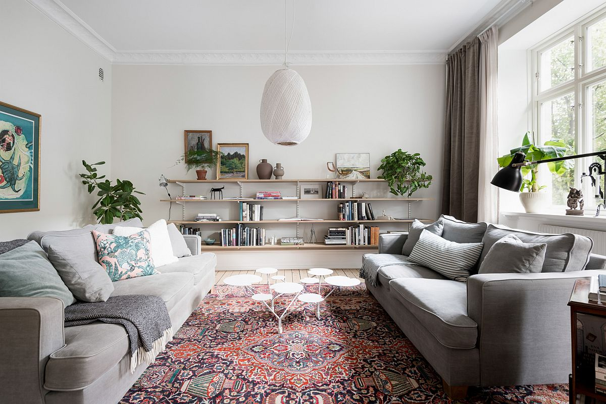 Dashing modern Scandinavian style living room with a lovely rug that steals the spotlight