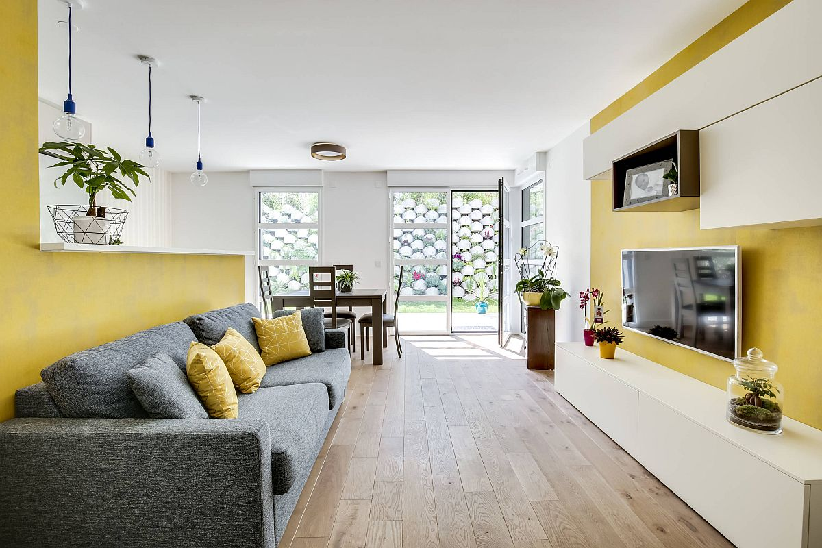 Find the right combination of gray and yellow in your living room