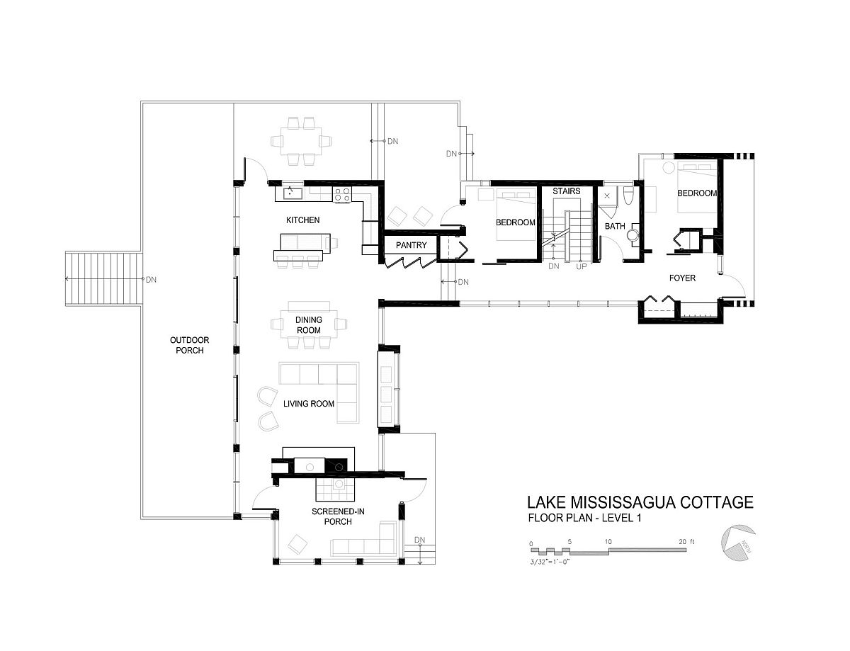 First level floor plan of Lake Mississauga Cottage by Architects Tillmann Ruth Robinson