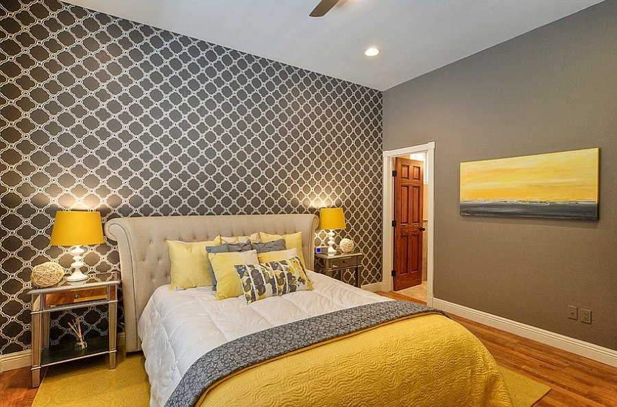 Gorgeous bedroom uses different shades of yellow and gray in an eye-catching and fluid manner