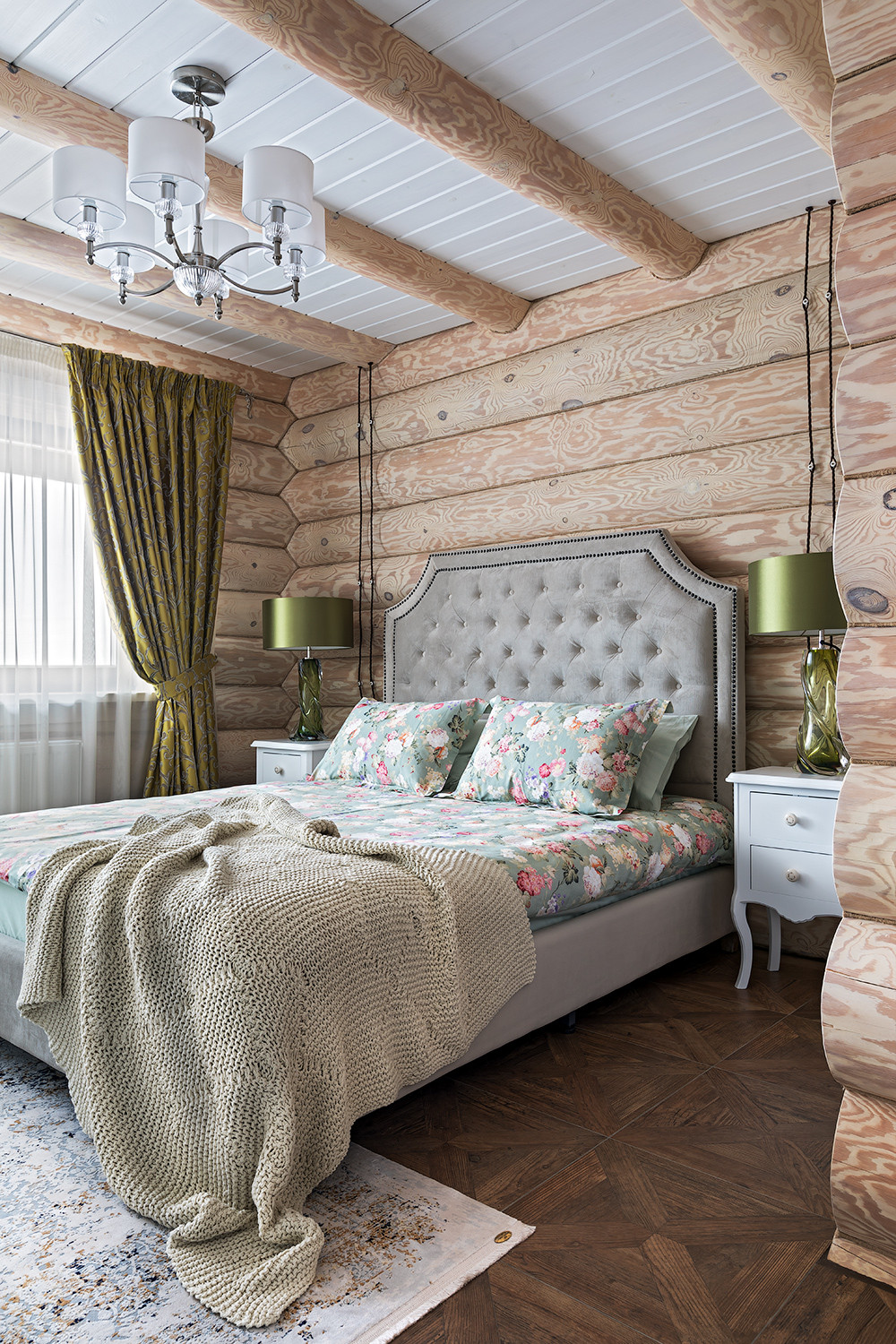 Gorgeous modern rustic bedroom in wood and white with a hint of Green thrown into the mix