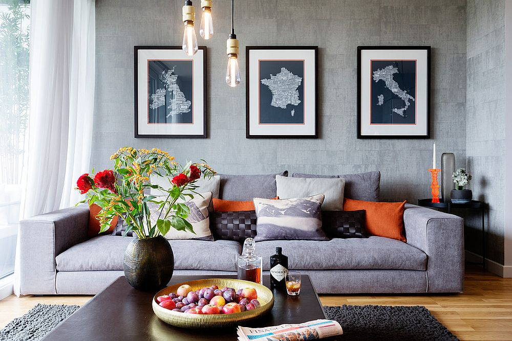 Gray, contemporary and illuminated by Edison bulbs - a picture-perfect living space