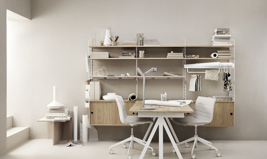Modular Workspace: Adaptable Home Office Designs Incorporate Iconic String Shelf
