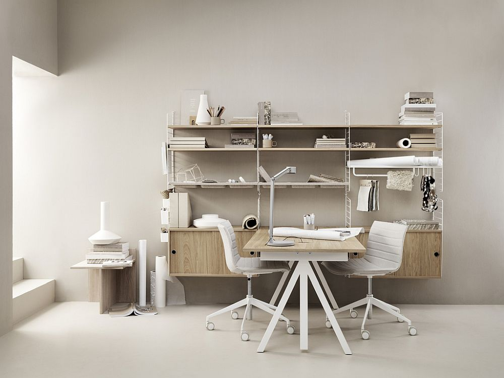 Iconic and smart string shelves are an essential part of the new workspace compositions