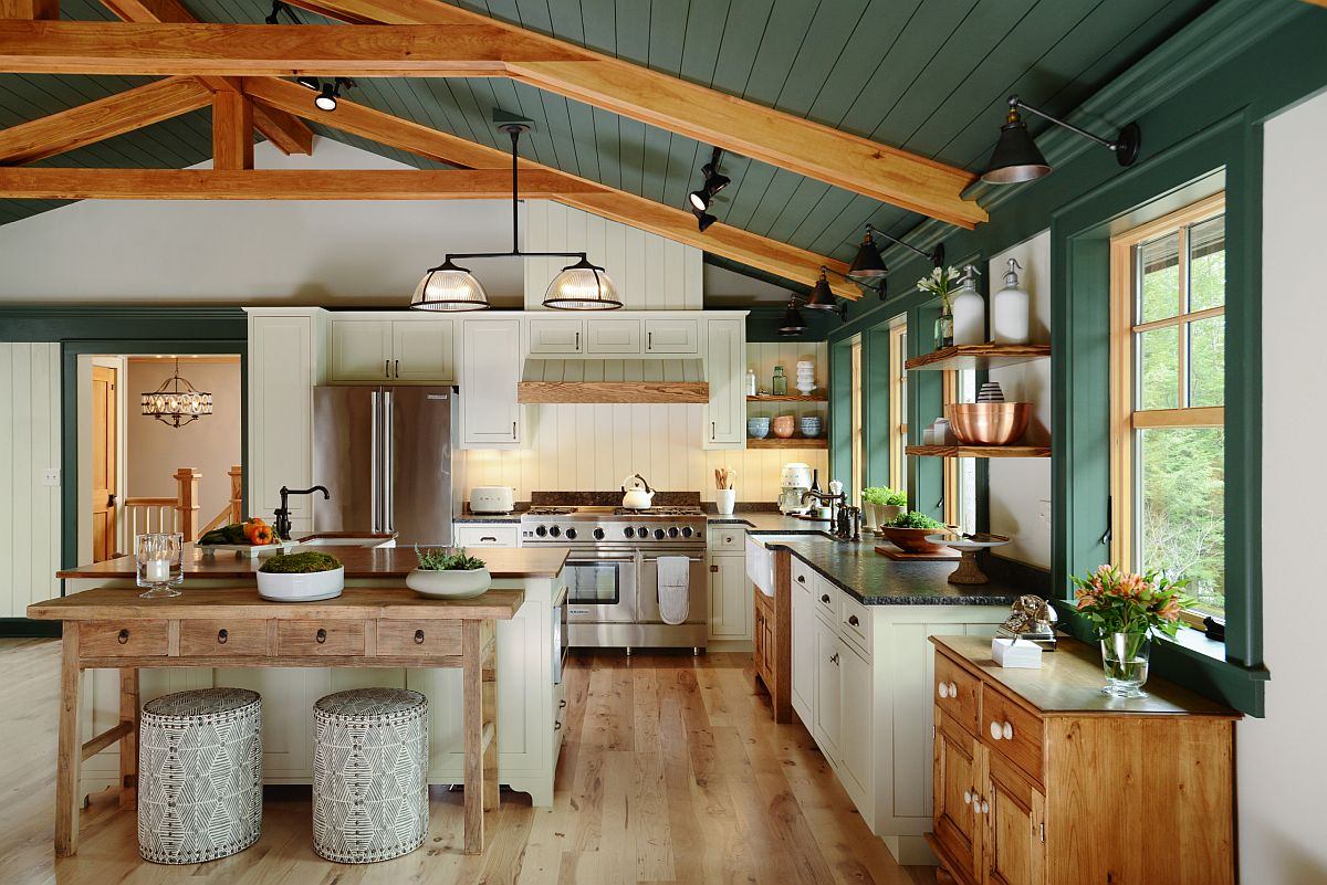 Innovative green wooden ceiling and walls provide the perfect backdrop for a festive kitchen