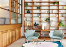 seafoam green chairs and turquoise rug in modern style living room
