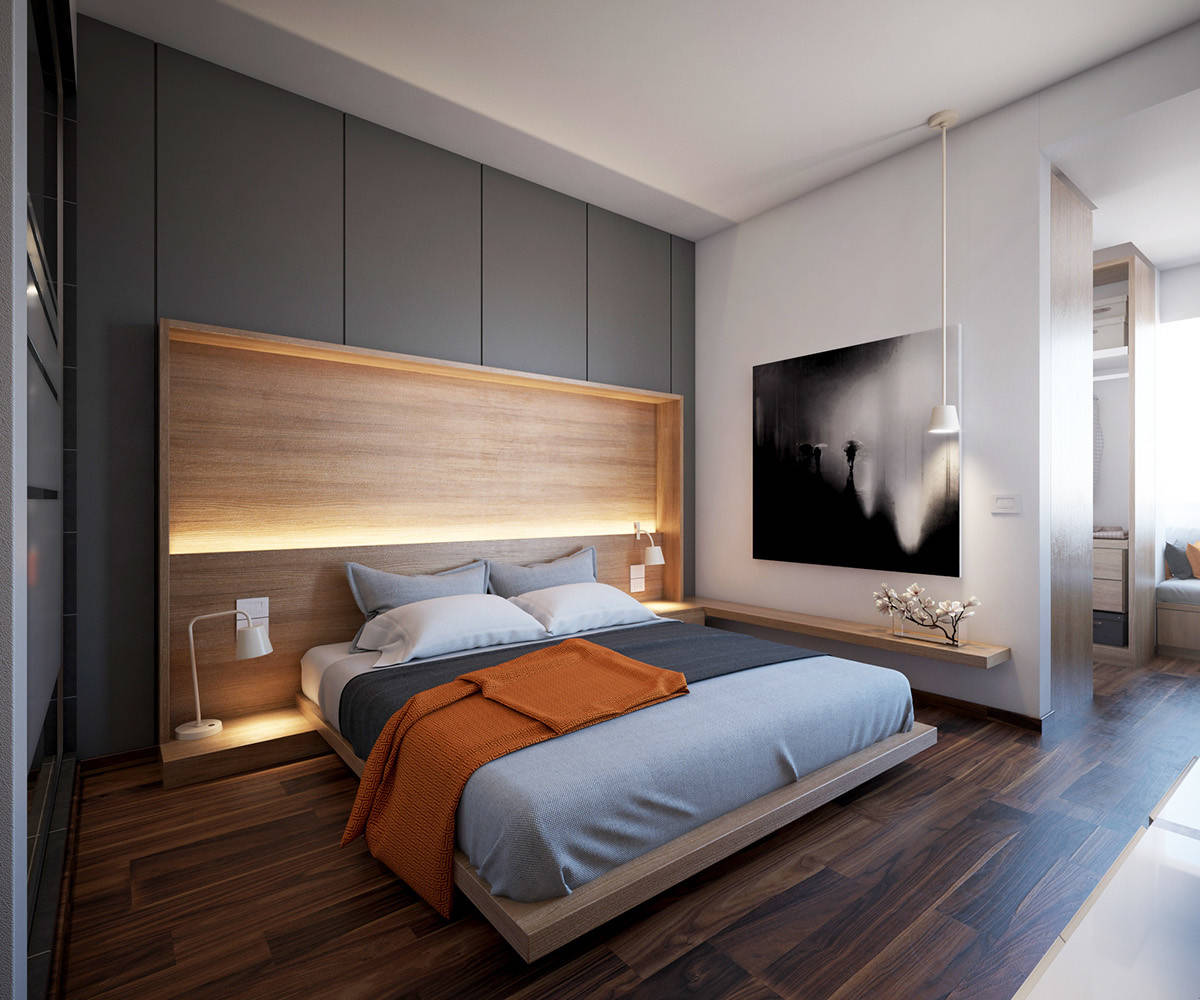 Lighting in the backdrop makes the biggest impact in this relaxing, minimal bedroom