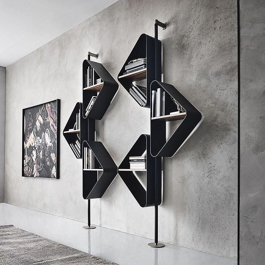 Modern metallic modular shelves with triangular units and minimal design
