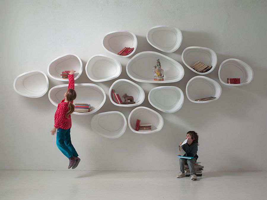 Modular shelves made from fiberglass add a unique focal point to the interior
