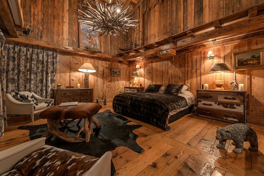 One of the lavish seven bedrooms at the fabulous French chalet