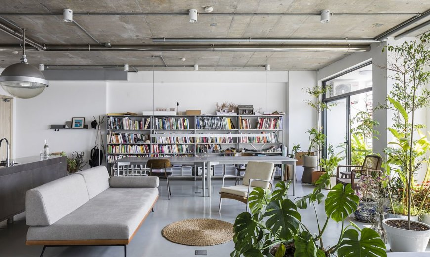 Unique Apartment Renovation: A World of Books and Natural Greenery