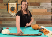 measuring out yarn length for macrame tassel hanging decor