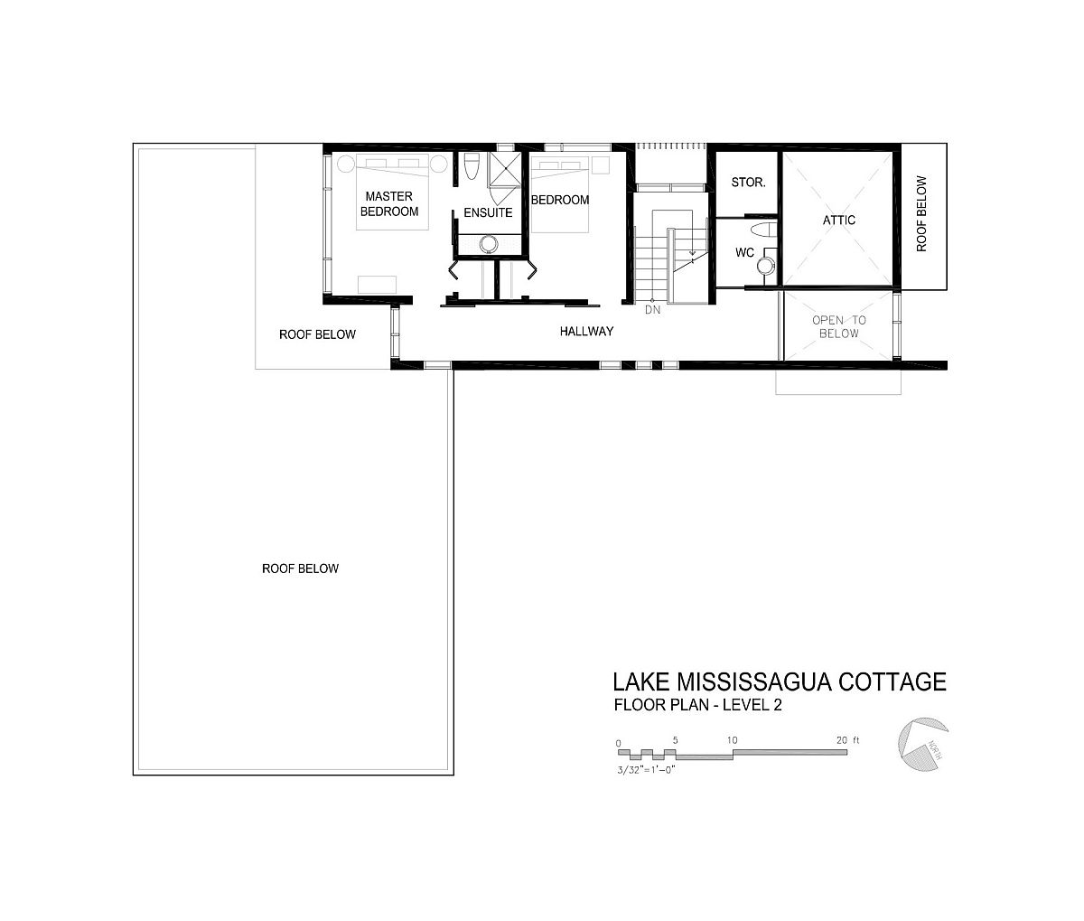 Second level floor plan of Lake Mississauga Cottage
