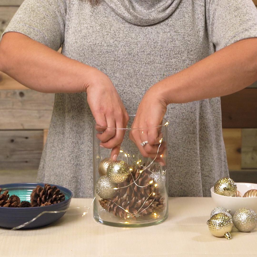 fairy lights in winter centerpieces