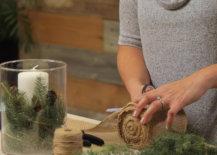 cutting burlap for winter centerpiece