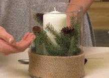 burlap wrap on winter centerpiece