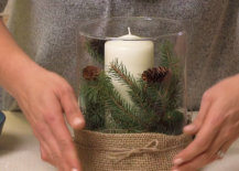 burlap tied with twine for winter centerpiece