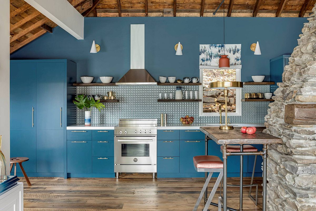 Single-wall cottage style kitchen in blue with modern rustic touches thrown into the mix