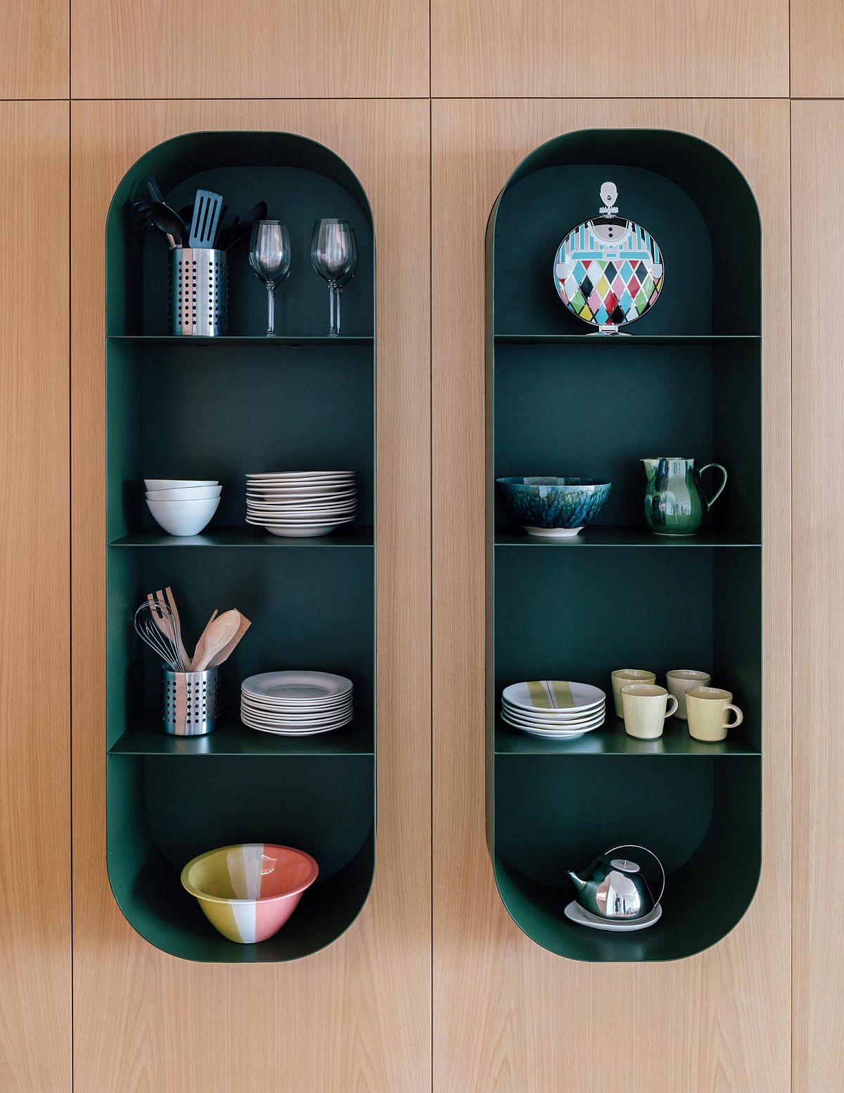 Small, bespoke green shelves can be added pretty much anywhere