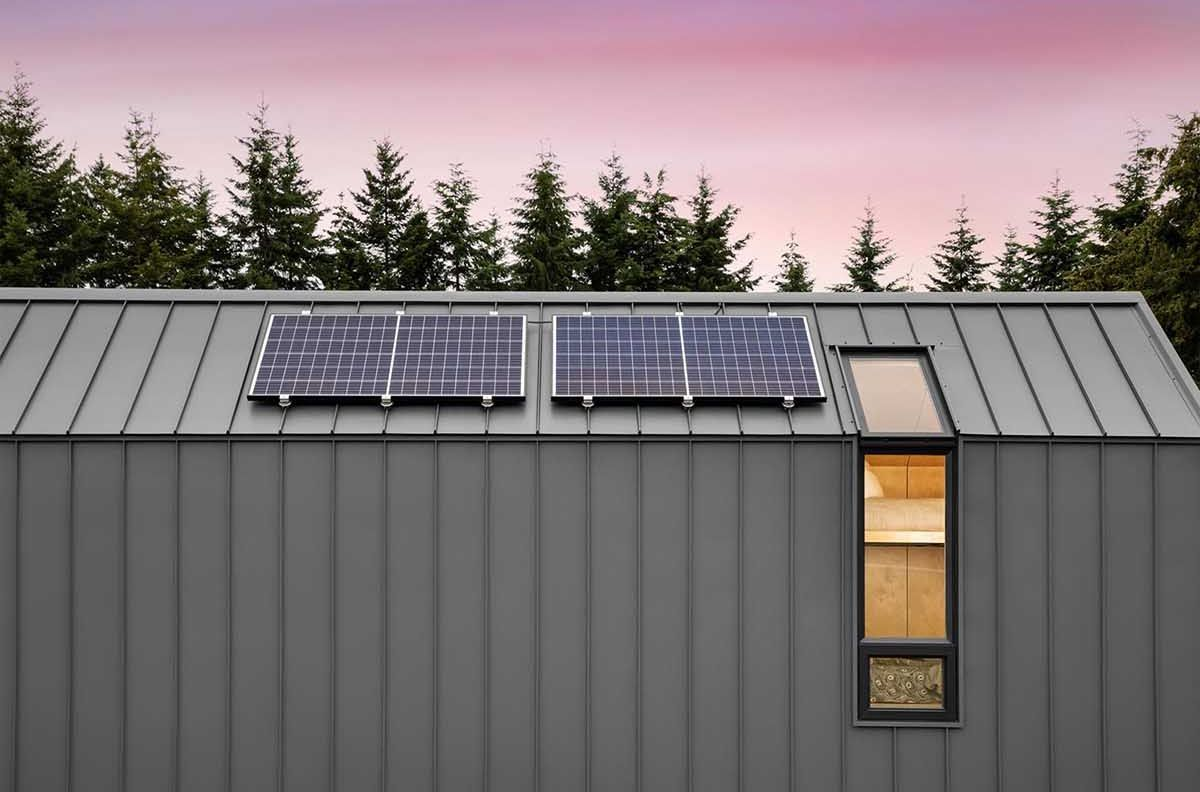 Solar panels power the small, off-grid cabin on wheels