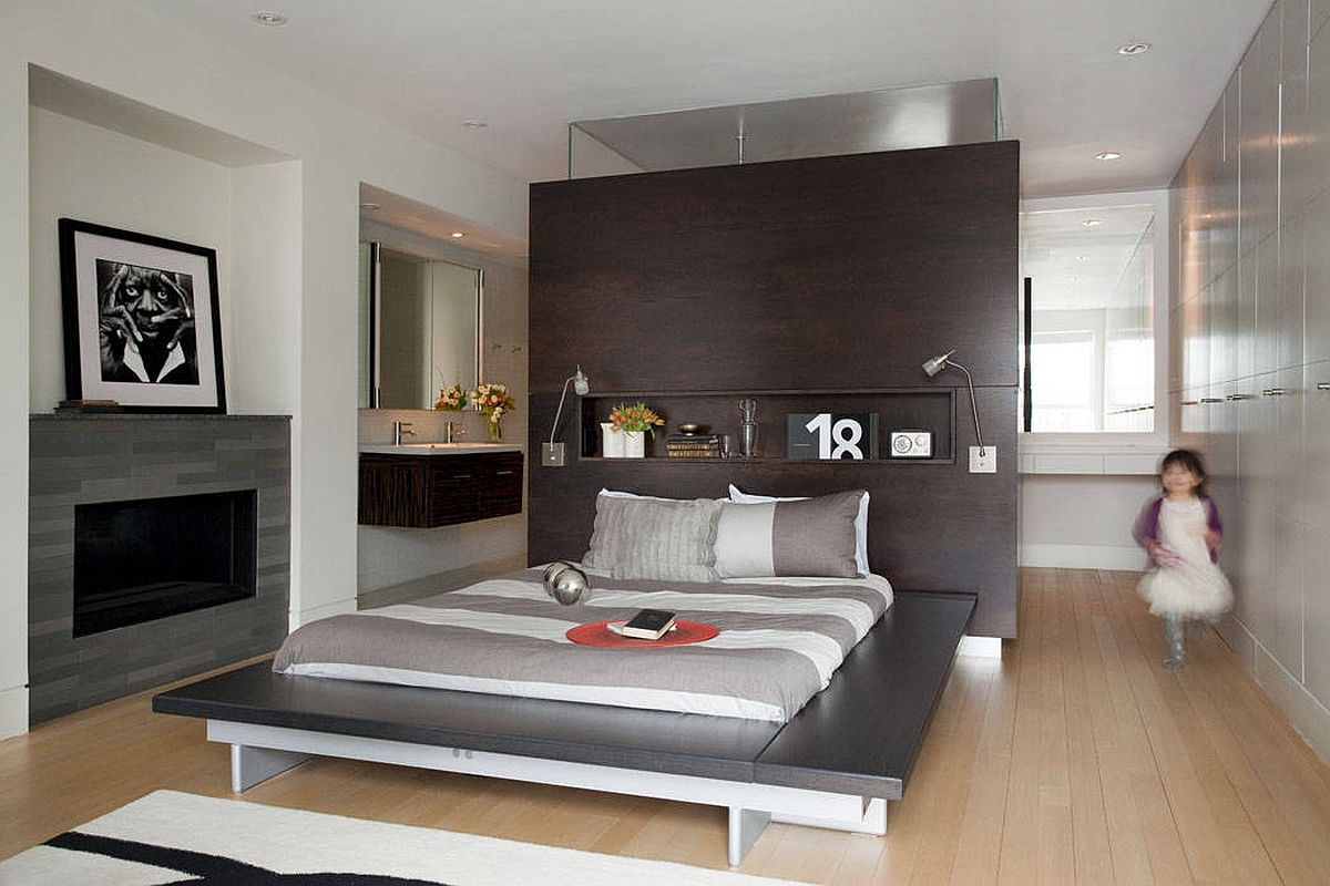 Understated and minimal platform bed frame allows other additions in the room to shine through