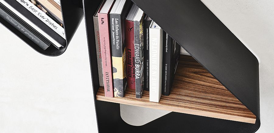 Wood and metal com together beautfully with the Spinnaker bookshelf