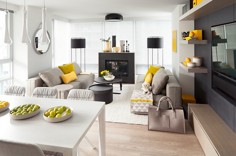 Yellow bring cheerful elegance to this contemporary living room in white and gray