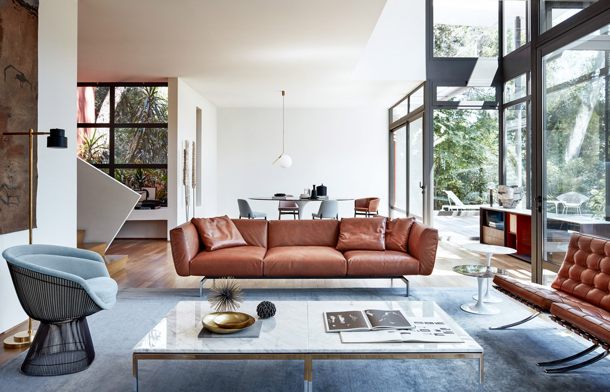 selection-of-brown-leather-chairs-mid-century-modern-end-tables