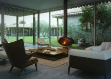 living room with floating metal fireplace