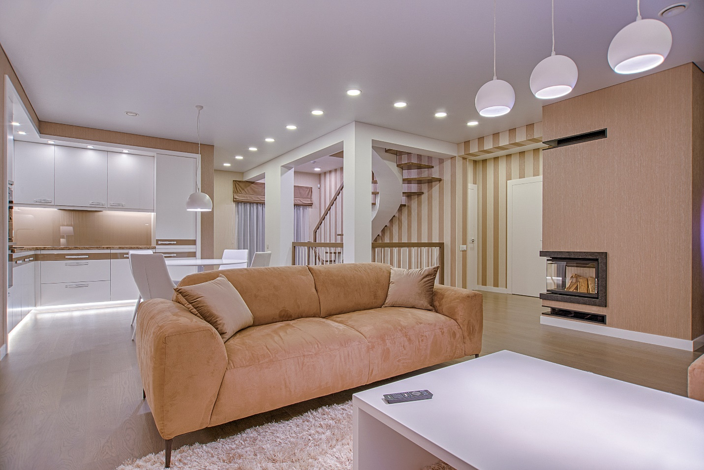 modern open space living area with minimal junk