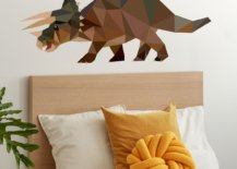 Bed with rhino on the wall
