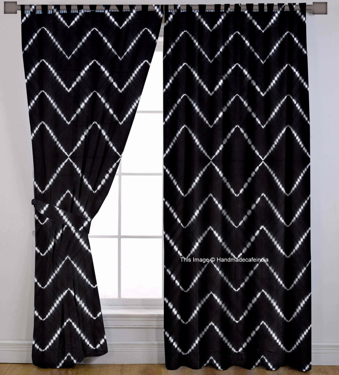 black curtains with white zig zag pattern