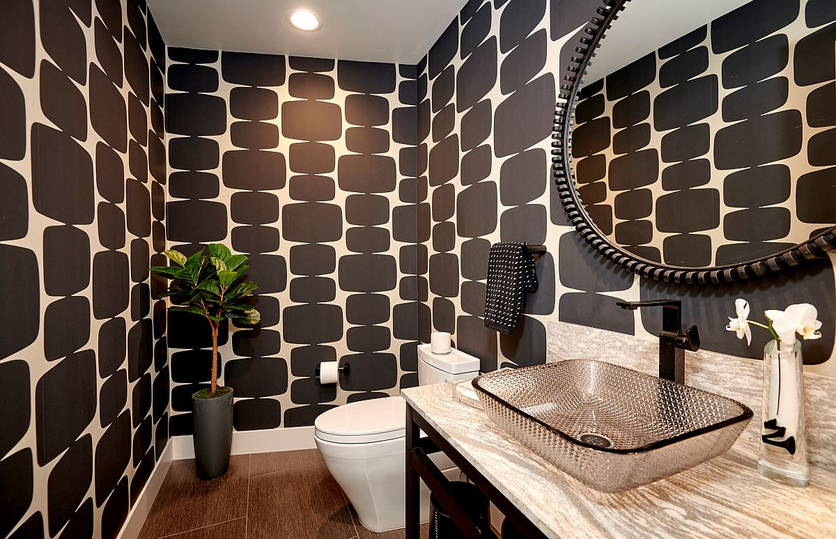 Dashing and modern powder room feels refreshing and unique thanks to the brilliant use of pattern