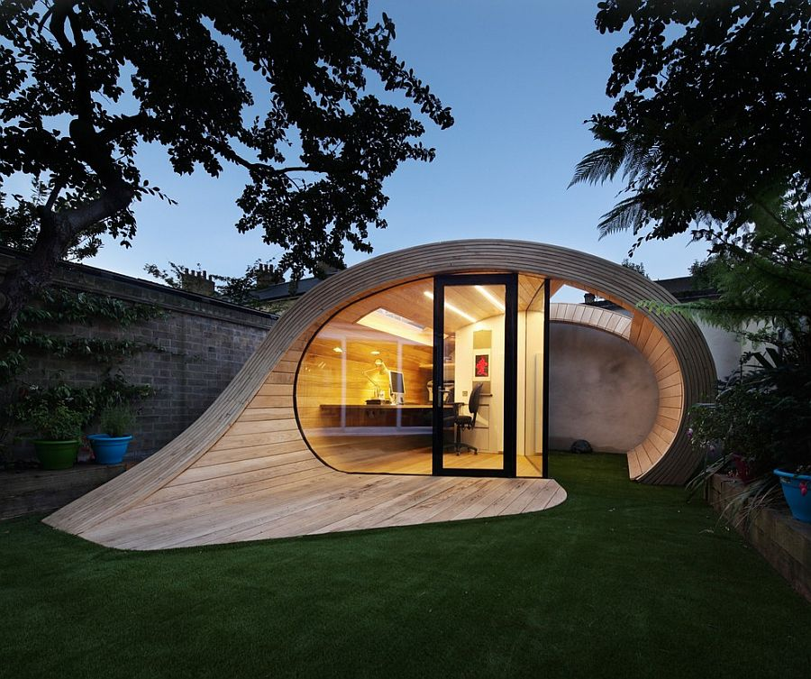 Exciting and innovative backyard home offices provide a tranquil workspace at home