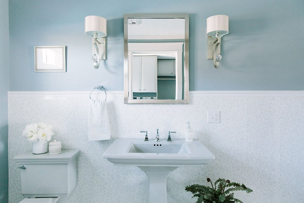 Expect to find plenty of blue in powder rooms in the year ahead