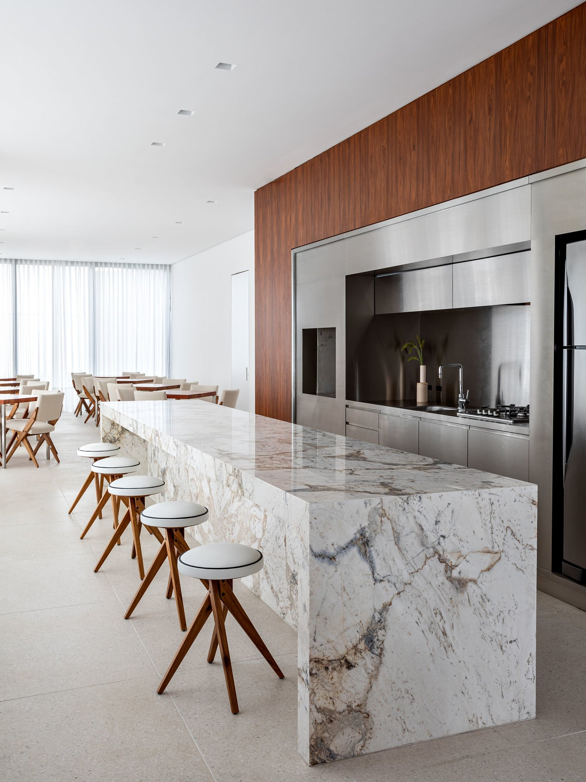 Exquisite Brazilian marble kitchen island is an absolute showstopper