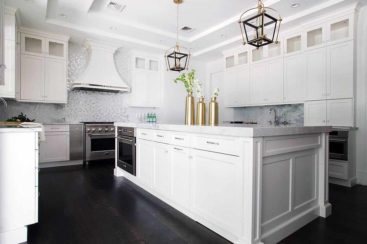 Fabulous hood in this kitchen blends in with the backdrop