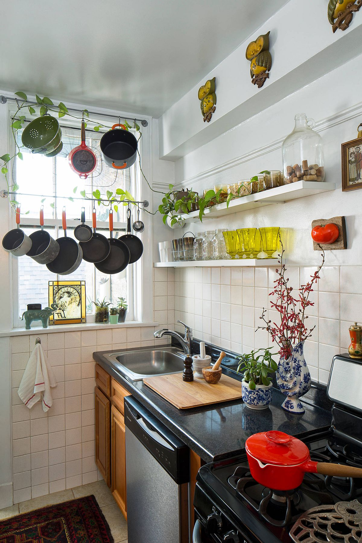 Find space for greenery inside your small eclectic kitchen with smart shelving