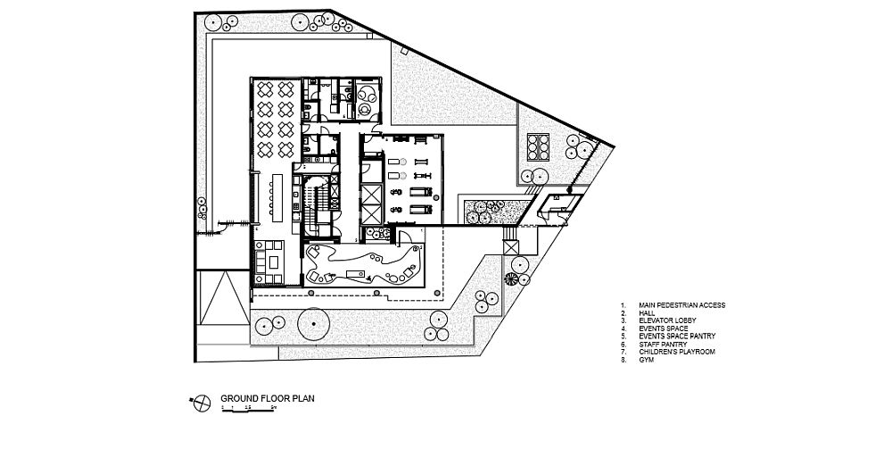Floor plan of the common areas of the building