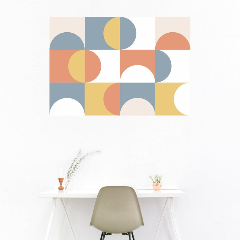 Geometric wall design in white background
