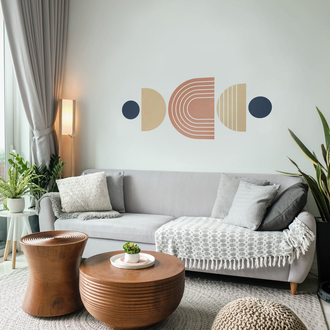 Grey living room with brown center table