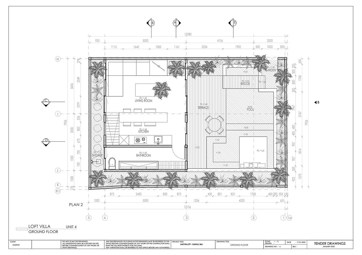 Ground level floor plan of Gaston Loft designed by Biombo Architects