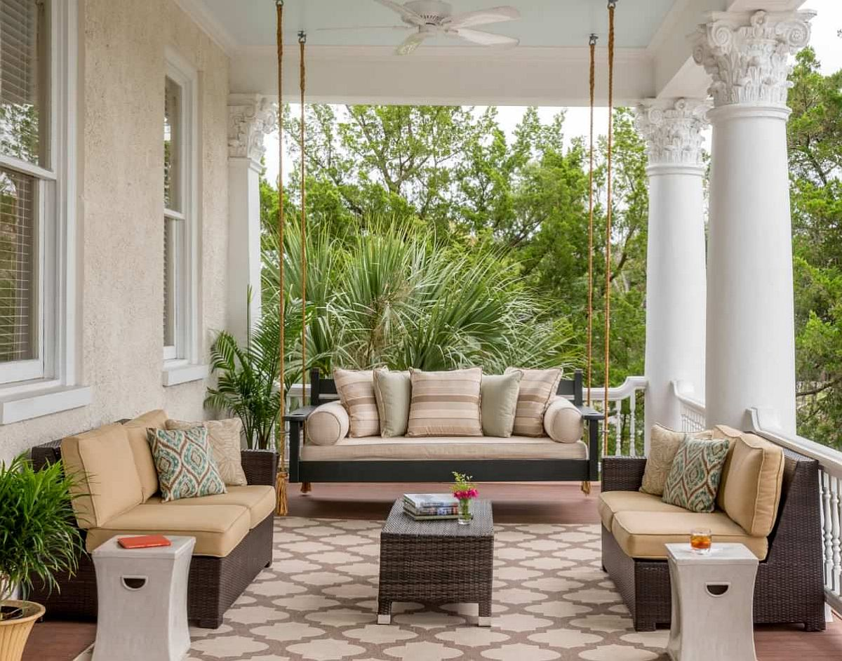 Indoor porches with smart seating are making a small comeback of sorts