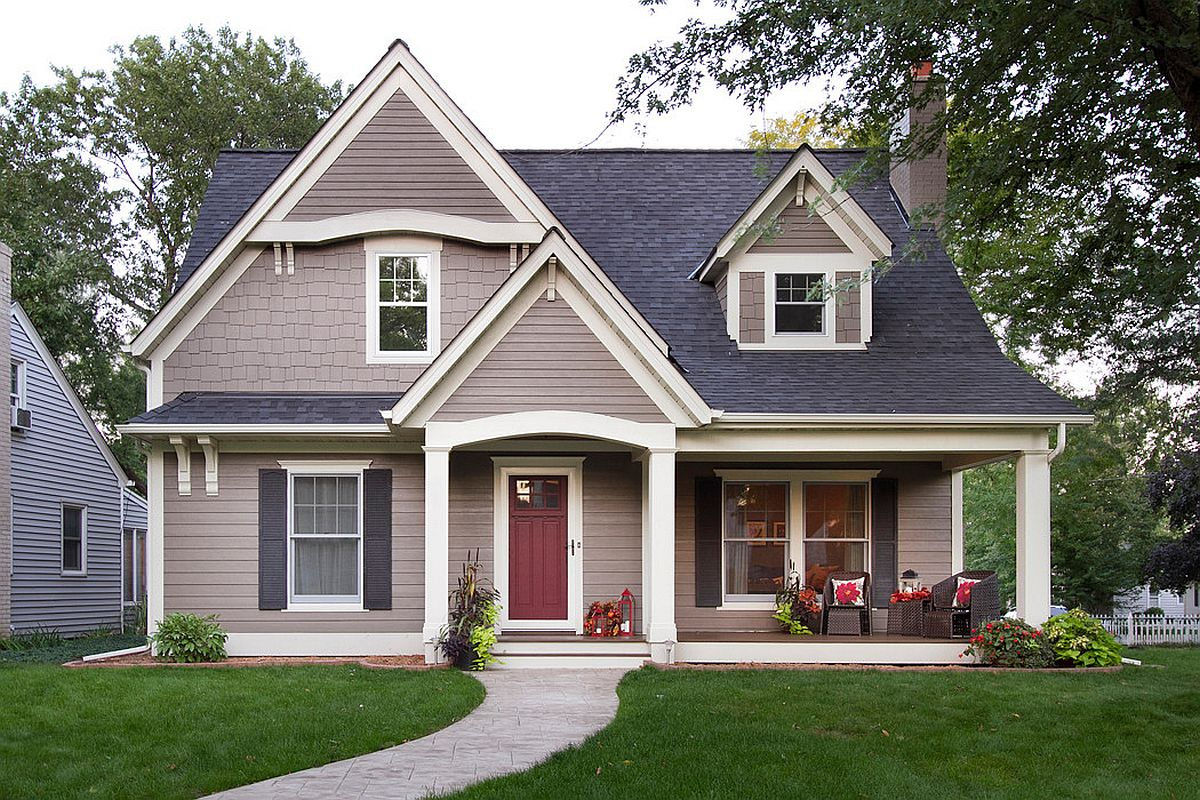 Light-and-dark-gray-coupled-with-a-cheerful-red-door-combine-modernity-with-timeless-charm-80706