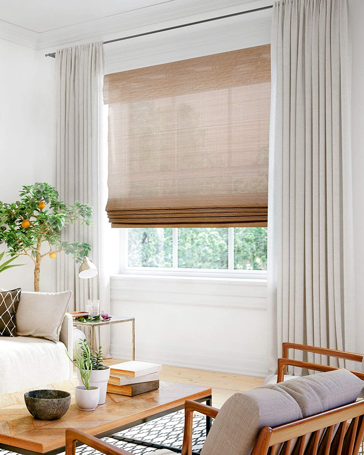 Living room window with brown covering