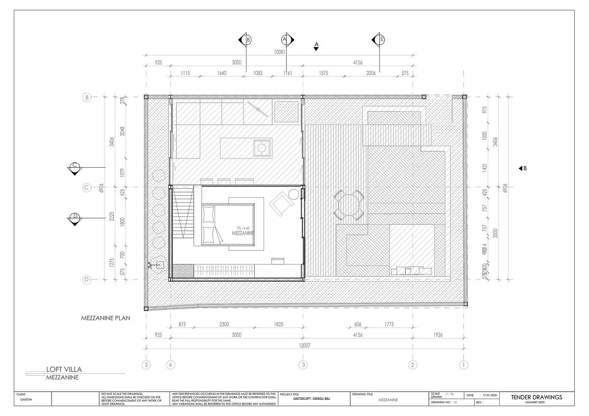 Mezzanine level floor plan of Gaston Loft by Biombo Architects