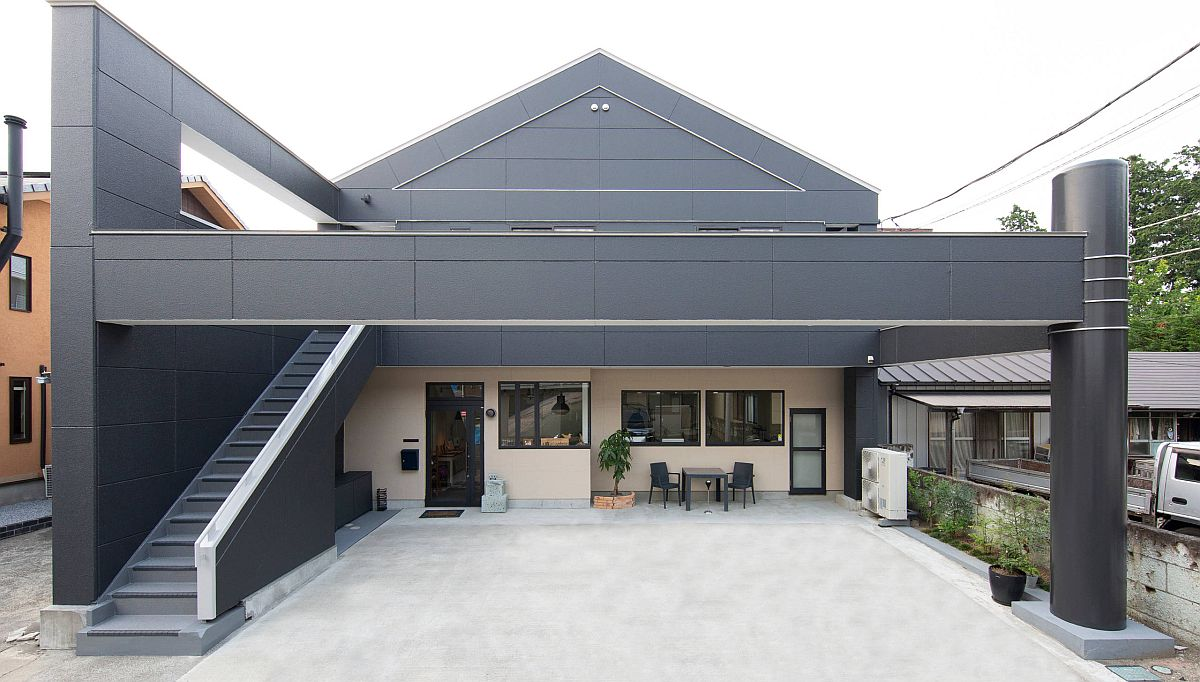 Minimal contemporary exterior in gray is an absolute showstopper